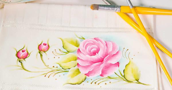 tecido para pintar - toalha com pintura de rosas