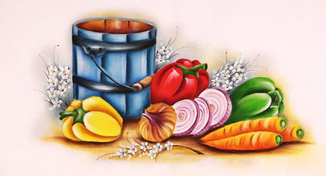 pintura em pano de prato - legumes