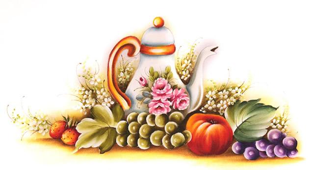 pintura em pano de prato - bule e frutas
