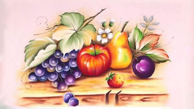 riscos de frutas - pintura de frutas sobre a mesa