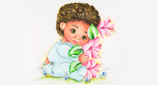 bebê negro com flores