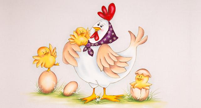 galinha com pintinhos - pintura em tecido