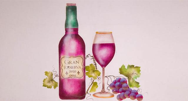 pintura em pano de prato - garrafa de vinho e taça