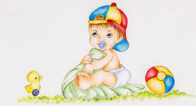 pintura de bebê em tecido