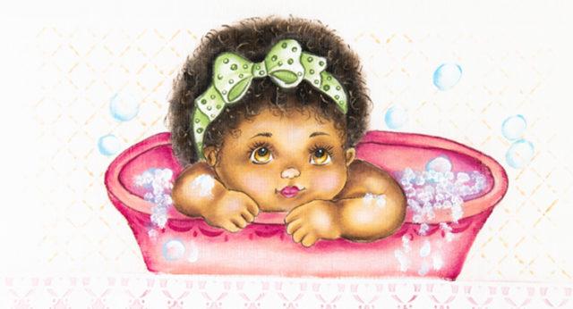 bebê na banheira - pintura em tecido