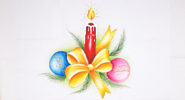 Pano de Prato de Natal - vela e laço