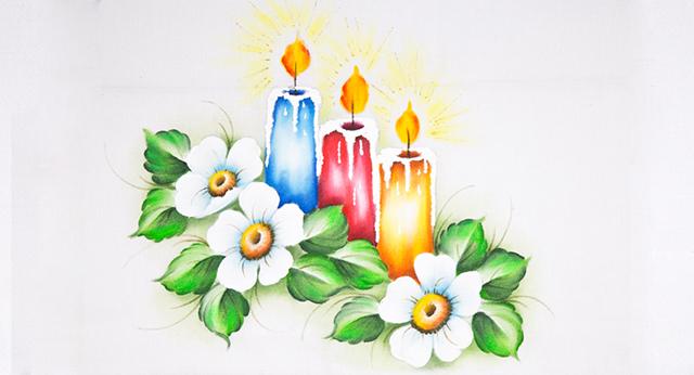 pano de prato de Natal - velas e flores
