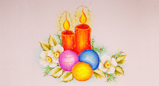 pintura de velas, bolas natalinas e flores