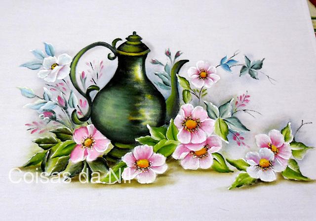 pintura em tecido bule e flores