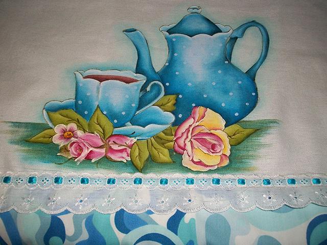 pintura em tecido Bule e xícara