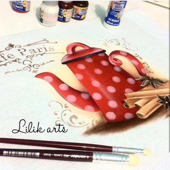 pintura Bule vermelho poá