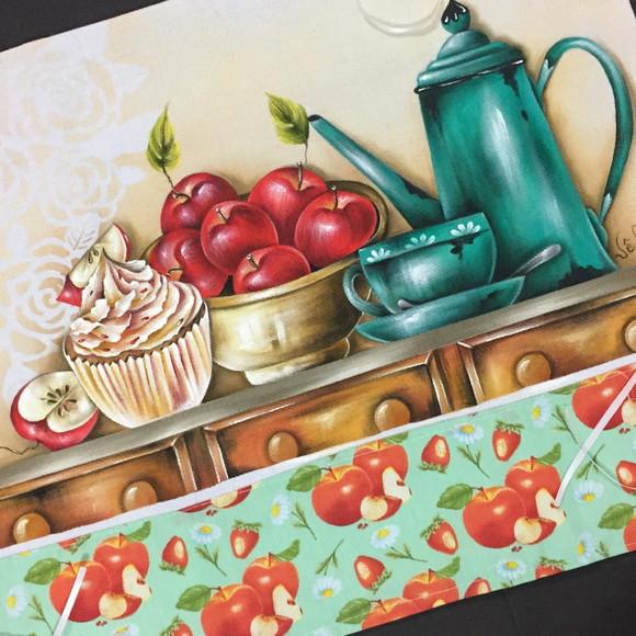 pintura em tecido bule, xícara e cupcake de maçã