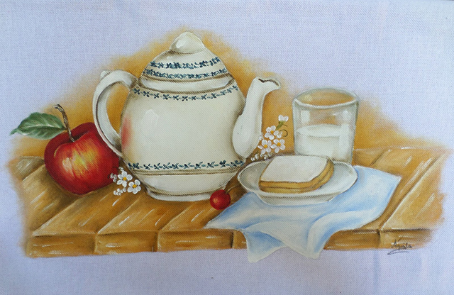 pintura em tecido bule café da manhã