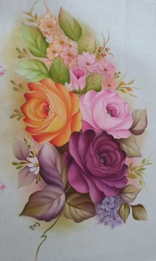 pintura em tecido de flores