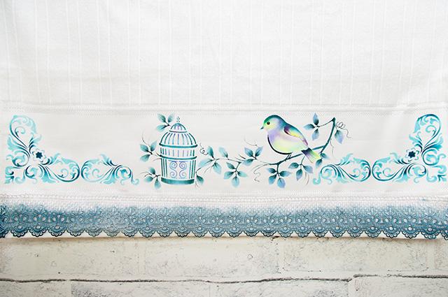 pintura em tecido toalha