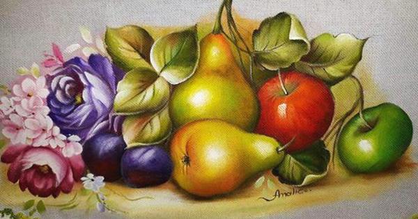 pintura de frutas em tecido
