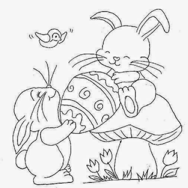 Risco de coelhinhos da Páscoa