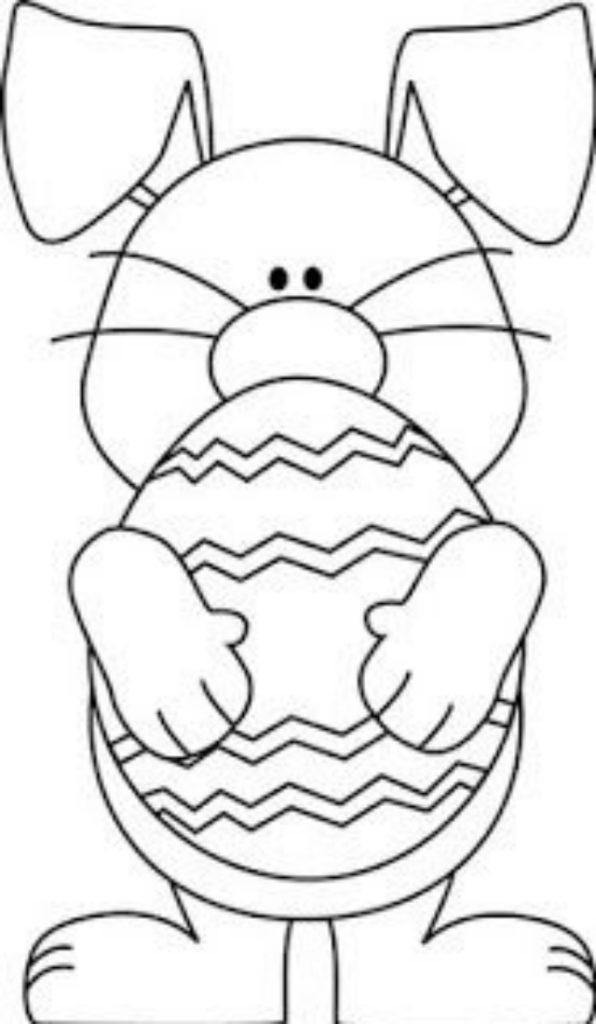 Risco de coelho da Páscoa com ovo