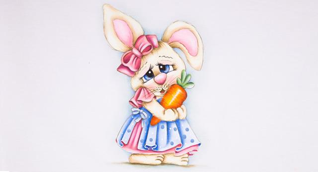 Pintura de coelho com cenoura em pano de prato