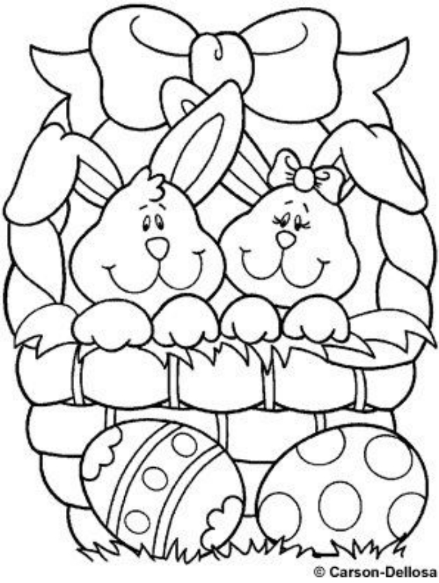 Risco de coelhos da Páscoa com ovos dentro de uma cesta