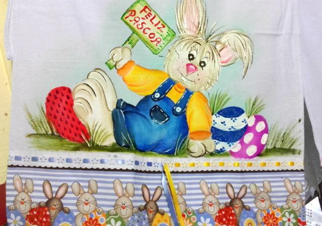 Pintura de coelho em pano de prato