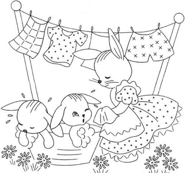 Risco de coelhinhos da Páscoa tomando banho