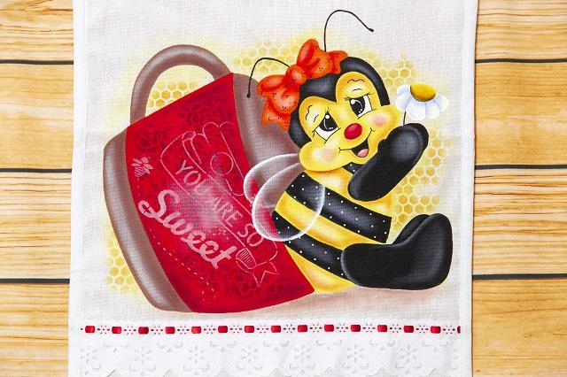 Pintura de abelha com pote de mel
