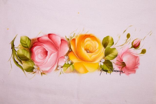 Pintura de botões de rosa