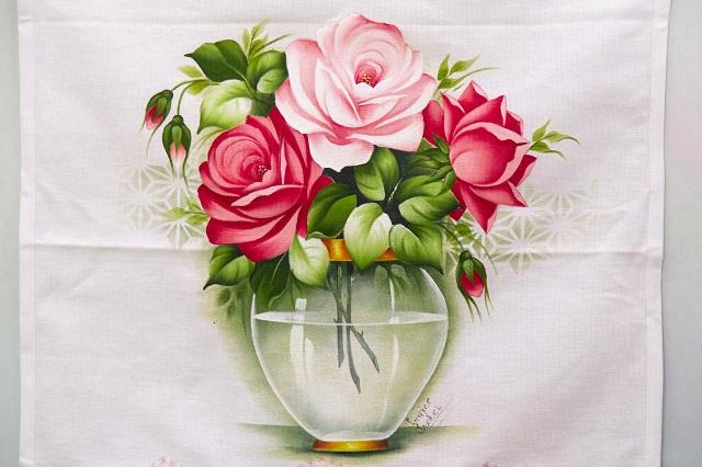 Pintura  de jarro com rosas