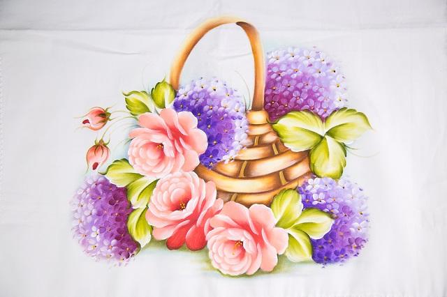 Pintura de cesto com flores
