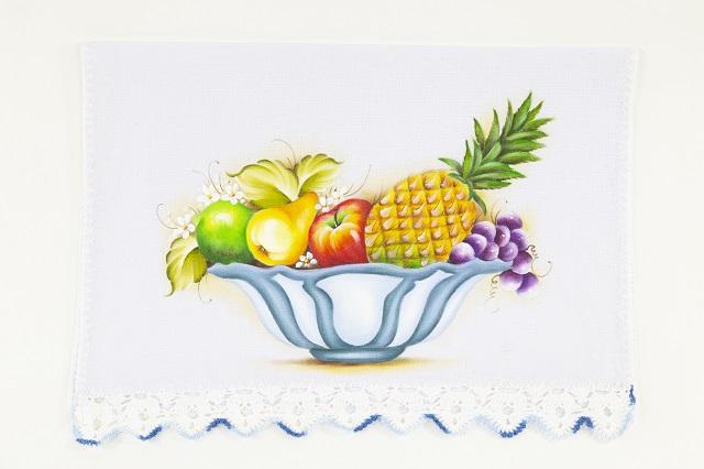 Pintura de cesta com frutas