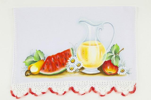Pintura de jarro e frutas